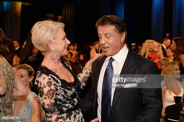 Actress Helen Mirren and actor Sylvester Stallone attend the 21st Annual Critics' Choice Awards at Barker Hangar on January 17 2016 in Santa Monica...