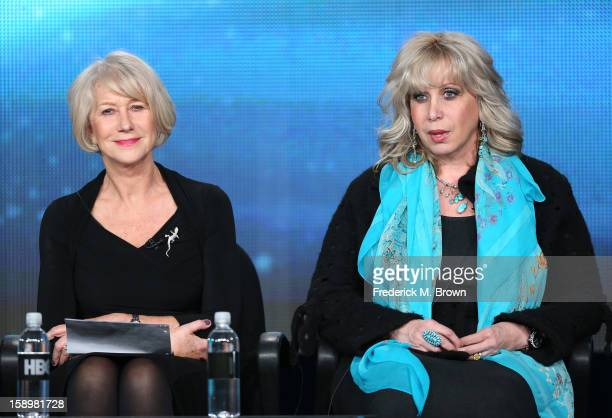 """Actress Helen Mirren and consultant Linda Kenney Baden onstage during the """"Phil Spector"""" panel discussion at the HBO portion of the 2013 Winter TCA..."""