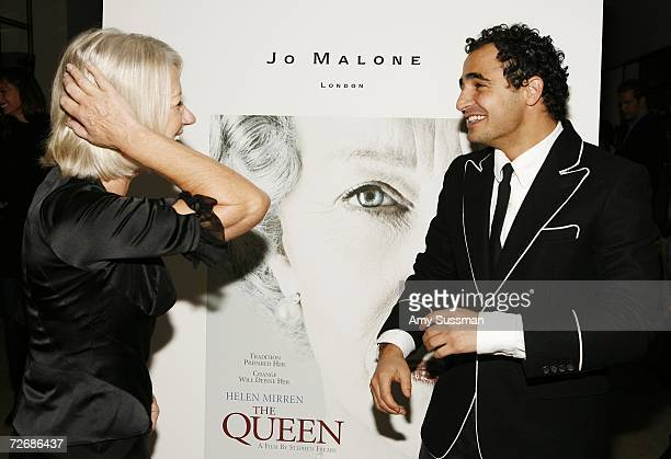 Actress Helen Mirren and designer Zac Posen attend the after party for the special screening of The Queen hosted by Miramax and Jo Malone at Core...