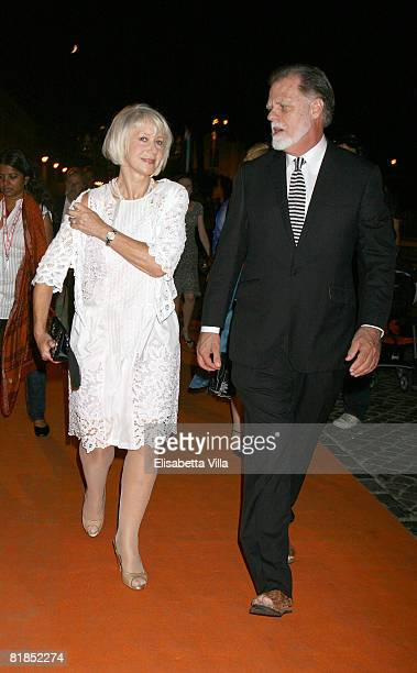 Actress Helen Mirren and director Taylor Hackford arrive at the Roma Fiction Fest 2008 dinner gala at Castel Sant'Angelo on July 7 2008 in Rome Italy