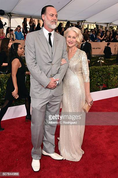 Actress Helen Mirren and director Taylor Hackford attend the 22nd Annual Screen Actors Guild Awards at The Shrine Auditorium on January 30 2016 in...