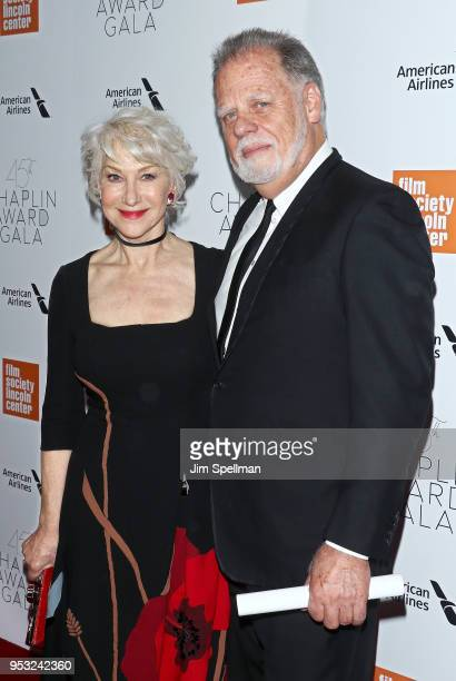 Actress Helen Mirren and director Taylor Hackford attend the 45th Chaplin Award Gala honoring Helen Mirren at Alice Tully Hall on April 30 2018 in...