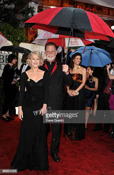 Actress Helen Mirren and husband director Taylor Hackford arrive at the 67th Annual Golden Globe Awards at The Beverly Hilton Hotel on January 17,...