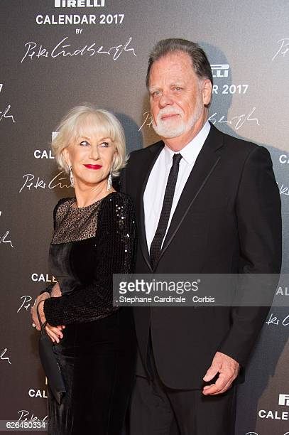 Actress Helen Mirren and husband Taylor Hackford attend the Pirelli Calendar 2017 by Peter Lindberg Photocall at La Cite Du Cinema on November 29...