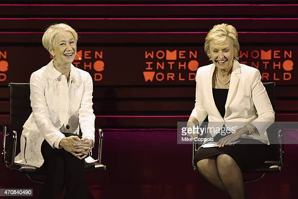 Actress Helen Mirren and journalist Tina Brown speak during the Women In World Summit at the David H Koch Theater at Lincoln Center on April 22 2015...