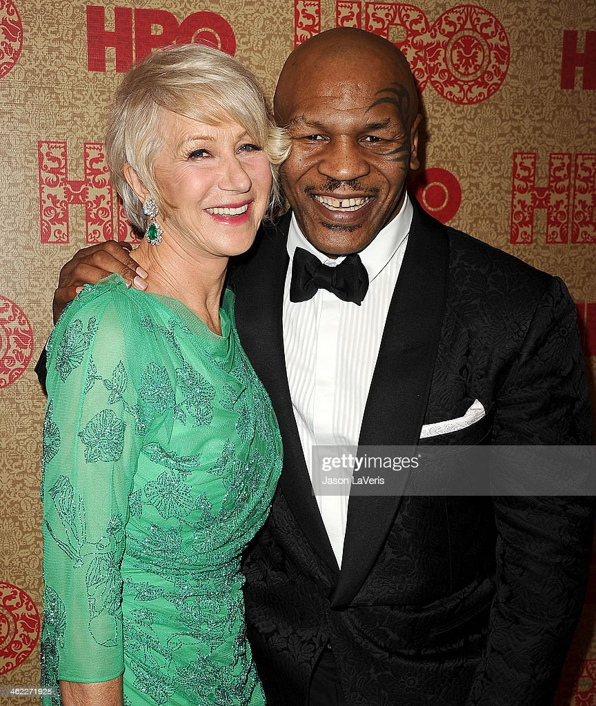 Actress Helen Mirren and Mike Tyson attend HBO's Golden Globe Awards after party at Circa 55 Restaurant on January 12, 2014 in Los Angeles, California.