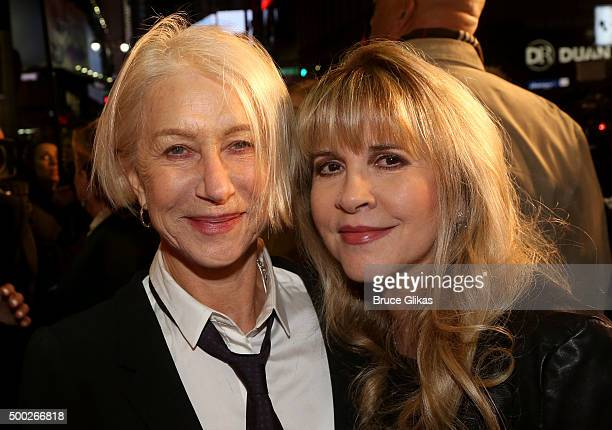 Actress Helen Mirren and Stevie Nicks pose at the Opening Night of 'School of Rock' on Broadway at The Winter Garden Theatre on December 6 2015 in...