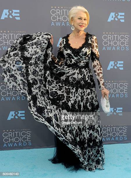 Actress Helen Mirren arrives at the 21st Annual Critics' Choice Awards at Barker Hangar on January 17 2016 in Santa Monica California