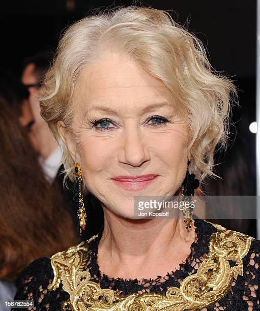 Actress Helen Mirren arrives at the Los Angeles Premiere Hitchcock at AMPAS Samuel Goldwyn Theater on November 20 2012 in Beverly Hills California