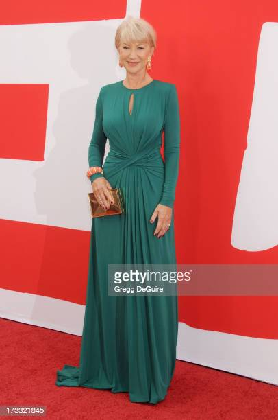 Actress Helen Mirren arrives at the Los Angeles premiere of Red 2 at Westwood Village on July 11 2013 in Los Angeles California