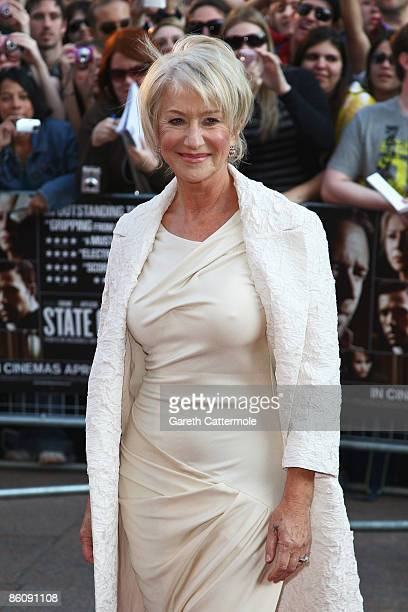 Actress Helen Mirren arrives at the World Premiere of 'State of Play' at The Empire Cinema Leicester Square on April 21 2009 in London England