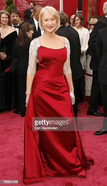 Actress Helen Mirren arrives on the red carpet for The 80th Annual Academy Awards held at the Kodak Theater on February 24 2008 in Hollywood...