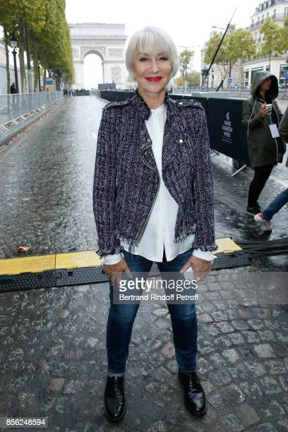 Actress Helen Mirren attends 'Le Defile L'Oreal Paris show' as part of the Paris Fashion Week Womenswear Spring/Summer 2018 on October 1 2017 in...