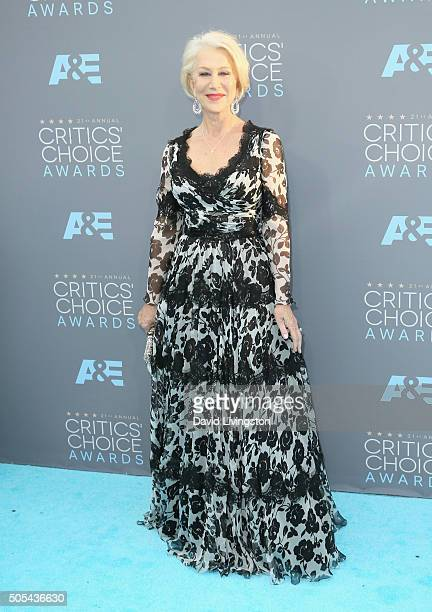 Actress Helen Mirren attends The 21st Annual Critics' Choice Awards at Barker Hangar on January 17 2016 in Santa Monica California