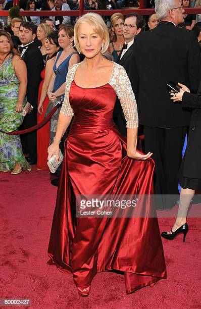 Actress Helen Mirren attends the 80th Annual Academy Awards at the Kodak Theatre on February 24 2008 in Los Angeles California