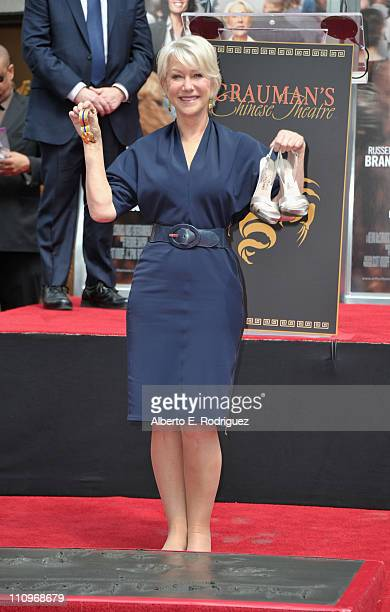 Actress Helen Mirren attends the Hand and Footprint Ceremony honoring her at Grauman's Chinese Theatre on March 28 2011 in Hollywood California