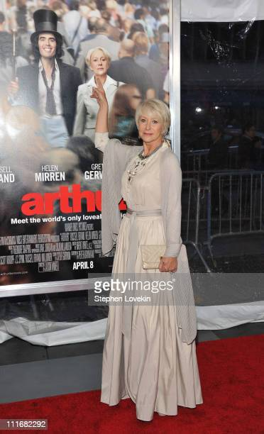Actress Helen Mirren attends the New York premiere of Arthur at Ziegfeld Theatre on April 5 2011 in New York City