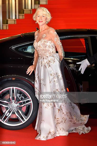 Actress Helen Mirren attends the opening ceremony of the Tokyo International Film Festival 2015 at Roppongi Hills on October 22 2015 in Tokyo Japan