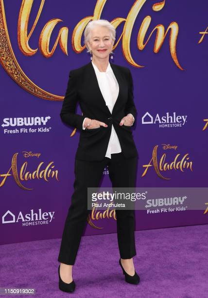 Actress Helen Mirren attends the premiere of Disney's Aladdin on May 21 2019 in Los Angeles California