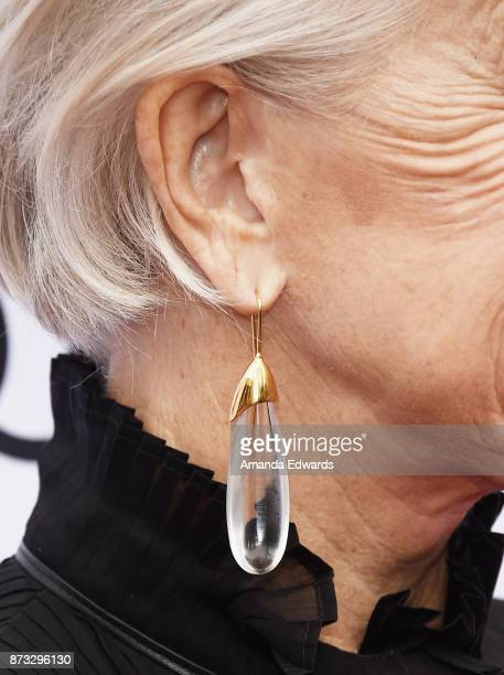 Actress Helen Mirren earring detail arrives at the AFI FEST 2017 Presented By Audi screening of 'The Leisure Seeker' at the Egyptian Theatre on...