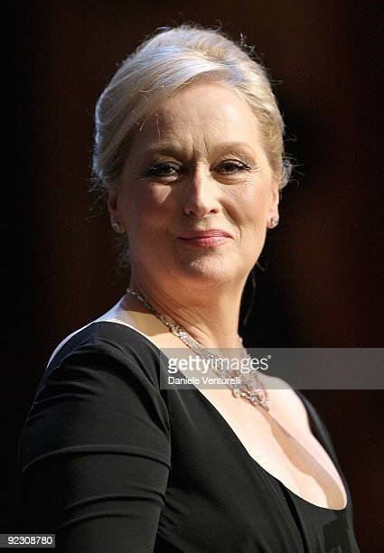 Actress Helen Mirren holds her speech during the Official Awards Ceremony on Day 9 of the 4th International Rome Film Festival held at the Auditorium...