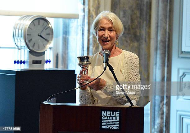 Actress Helen Mirren honored by World Jewish Congress for her role in acclaimed film Woman In Gold at Neue Galerie on June 19 2015 in New York City