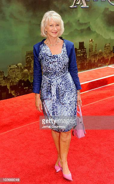 Actress Helen Mirren poses for a photo on the red carpet at the premiere of 'The Sorcerer's Apprentice' at the New Amsterdam Theatre on July 6 2010...