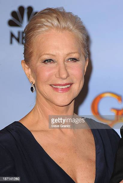 Actress Helen Mirren poses in the press room at the 69th Annual Golden Globe Awards held at the Beverly Hilton Hotel on January 15 2012 in Beverly...