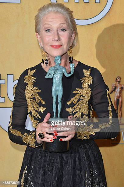 Actress Helen Mirren poses in the press room during the 20th Annual Screen Actors Guild Awards at The Shrine Auditorium on January 18 2014 in Los...