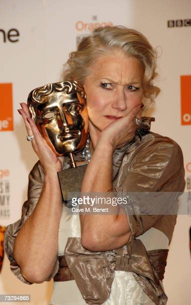 Actress Helen Mirren poses with the Best Actress Award in the awards room at the Orange British Academy Film Awards at the Royal Opera House on...