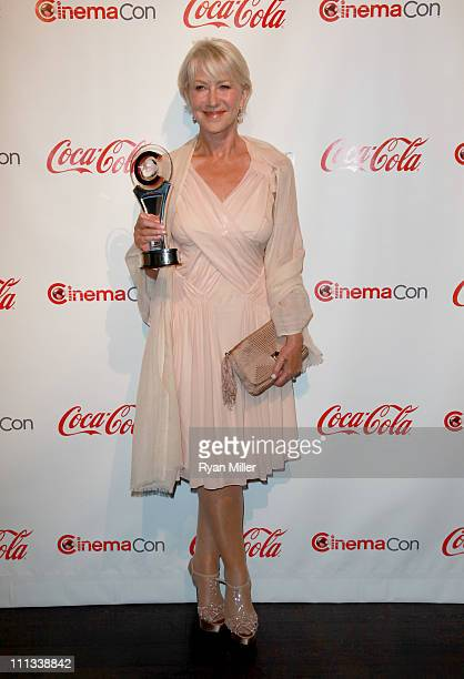 Actress Helen Mirren, recipient of the Career Achievement Award, arrives at the CinemaCon awards ceremony at The Colosseum at Caesars Palace during...