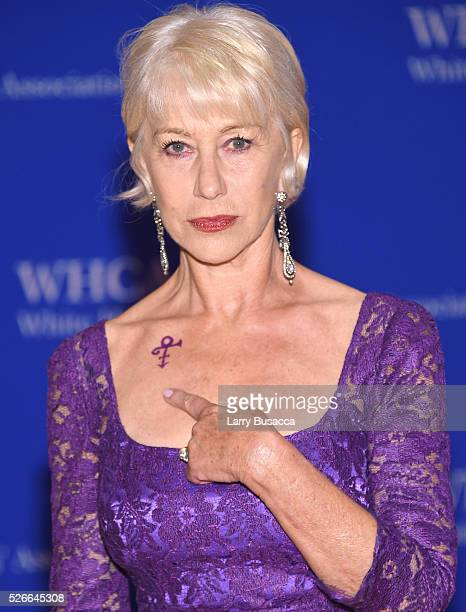 Actress Helen Mirren shows her Prince symbol tribute at the 102nd White House Correspondents' Association Dinner on April 30 2016 in Washington DC