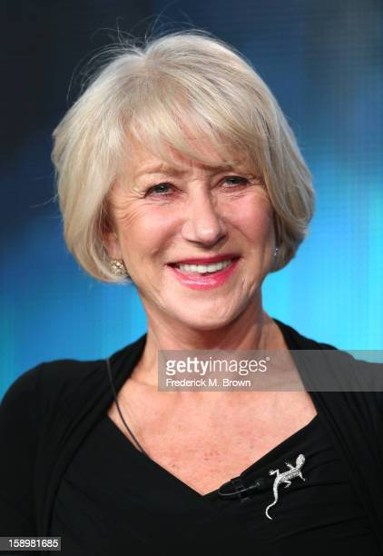 """Actress Helen Mirren speaks onstage during the """"Phil Spector"""" panel discussion at the HBO portion of the 2013 Winter TCA Tourduring 2013 Winter TCA..."""