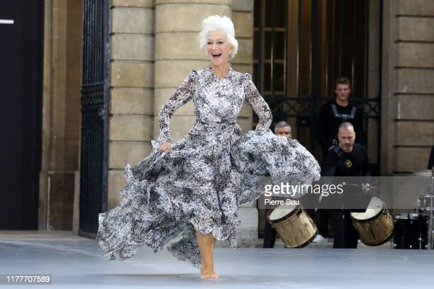 Actress Helen Mirren the runway during the Le Defile L'Oreal Paris Show as part of Paris Fashion Week on September 28 2019 in Paris France