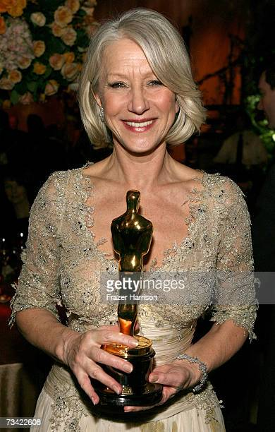 Actress Helen Mirren with her academy award for Best Leading Actress for 'The Queen' attends the Governor's Ball after the 79th Annual Academy Awards...
