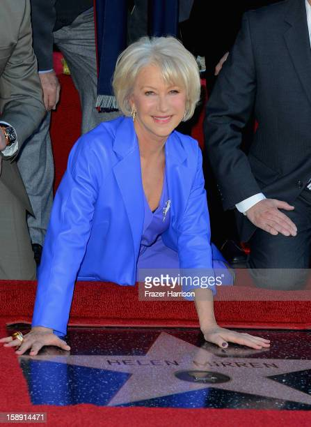 Actress Helen Mirrenwho Honored On The Hollywood Walk Of Fame with her own star on January 3 2013 in Hollywood California