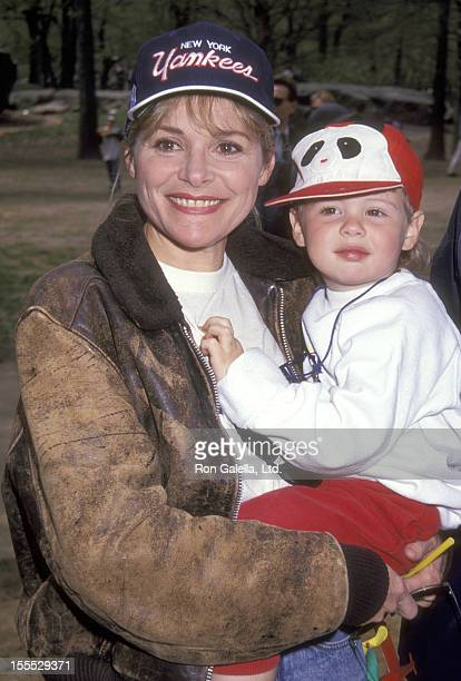 Actress Helen Shaver and son Mackenzie Smith attend the Broadway Show League's 38th Annual Softball Season on April 30 1992 at Heckscher Field...