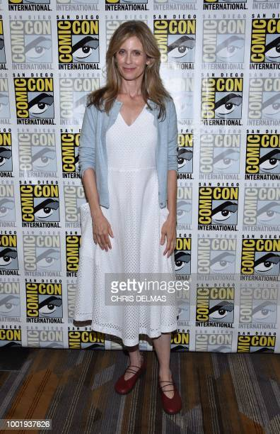 Actress Helen Slater arrives on the photo line for Supergirl 1984 classic movie at Comic Con in San Diego July 19 2018