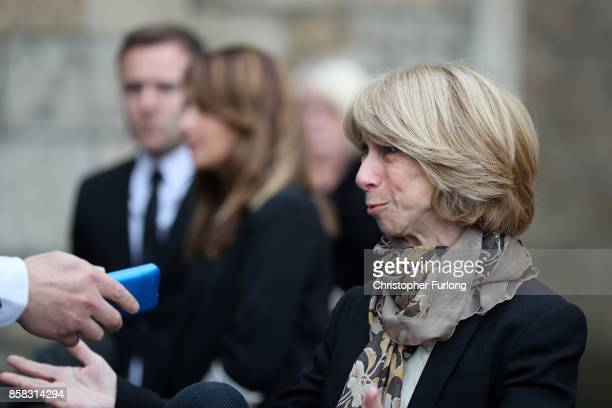 Actress Helen Worth departs the funeral of actress Liz Dawson at Salford Cathedral on October 6, 2017 in Salford, England. Actress Liz Dawn who died...