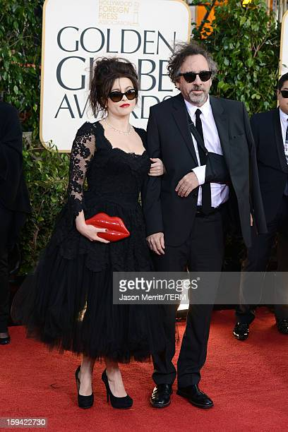 Actress Helena Bonham Carter and director Tim Burton arrive at the 70th Annual Golden Globe Awards held at The Beverly Hilton Hotel on January 13...