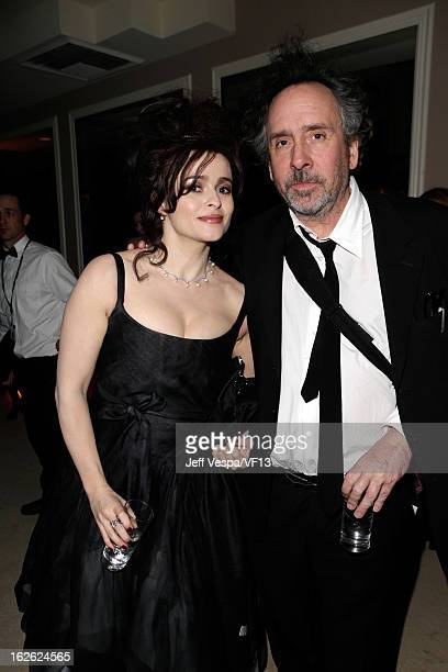 Actress Helena Bonham Carter and director Tim Burton attend the 2013 Vanity Fair Oscar Party hosted by Graydon Carter at Sunset Tower on February 24...