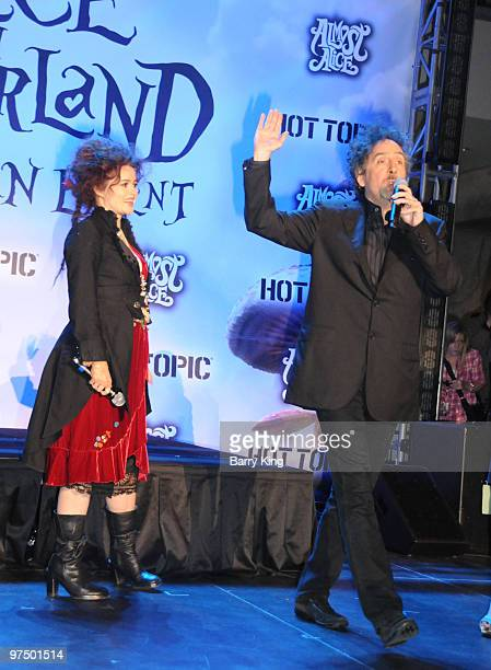Actress Helena Bonham Carter and director Tim Burton attend the 'Alice In Wonderland' Great Big Ultimate Fan Event at Hollywood Highland Courtyard on...