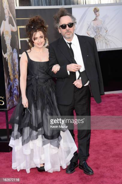 Actress Helena Bonham Carter and producer/director Tim Burton arrives at the Oscars held at Hollywood Highland Center on February 24 2013 in...