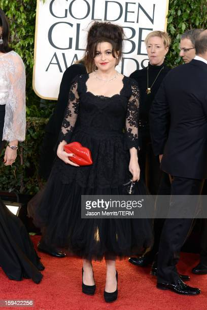 Actress Helena Bonham Carter arrives at the 70th Annual Golden Globe Awards held at The Beverly Hilton Hotel on January 13 2013 in Beverly Hills...