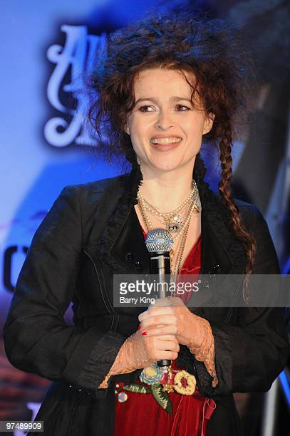 Actress Helena Bonham Carter attends the 'Alice In Wonderland' Great Big Ultimate Fan Event at Hollywood Highland Courtyard on February 19 2010 in...