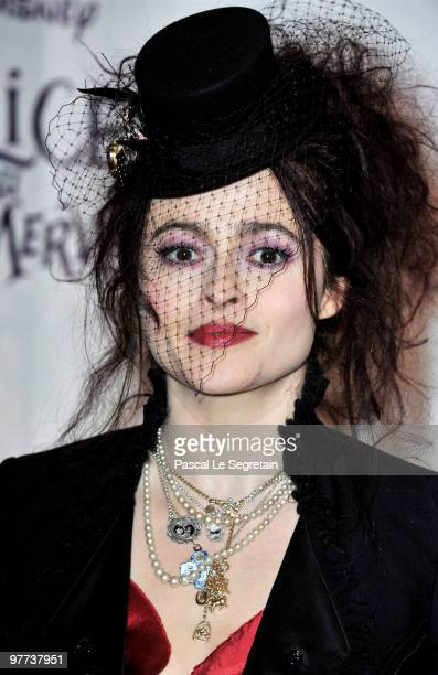 Actress Helena Bonham Carter attends the premiere of Tim Burton's film 'Alice au pays des merveilles' at Theatre Mogador on March 15 2010 in Paris...