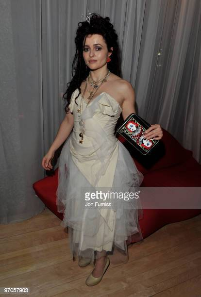 Actress Helena Bonham Carter attends the Tim Burton's 'Alice In Wonderland' afterparty at the Sanderson Hotel on February 25 2010 in London England