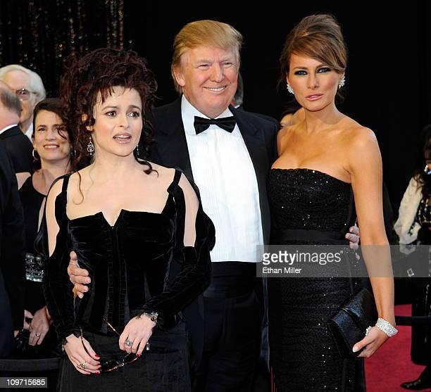Actress Helena Bonham Carter Donald Trump and wife Melania Trump arrive at the 83rd Annual Academy Awards at the Kodak Theatre February 27 2011 in...