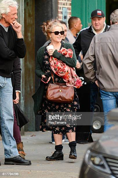 Actress Helena Bonham Carter enters the 'Ocean 8' movie set at the Mile End Delicatessen on October 24 2016 in New York City