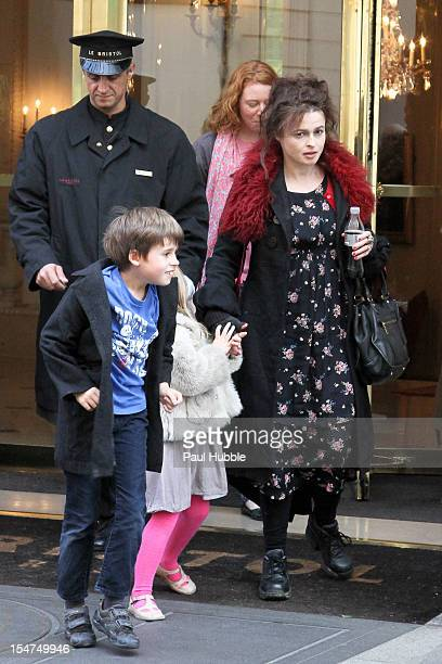 Actress Helena BonhamCarter and children Nell and Billy Ray Burton are seen leaving the 'Bristol' hotel on October 25 2012 in Paris France